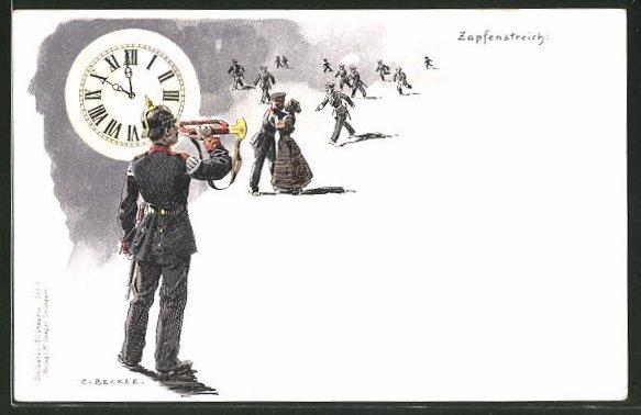 Künstler-Lithographie Carl Becker: Zapfenstreich, Soldatenhumor
