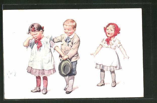 Künstler-AK Karl Feiertag: Knabe und zwei Mädchen