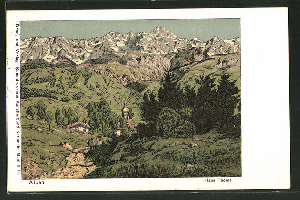 Künstler-AK Hans Thoma: Alpen, Landschaft