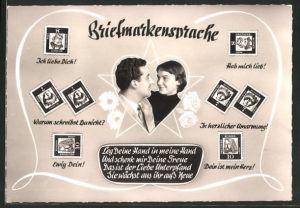 AK Briefmarkensprache, Leg Deine Hand in meine Hand...