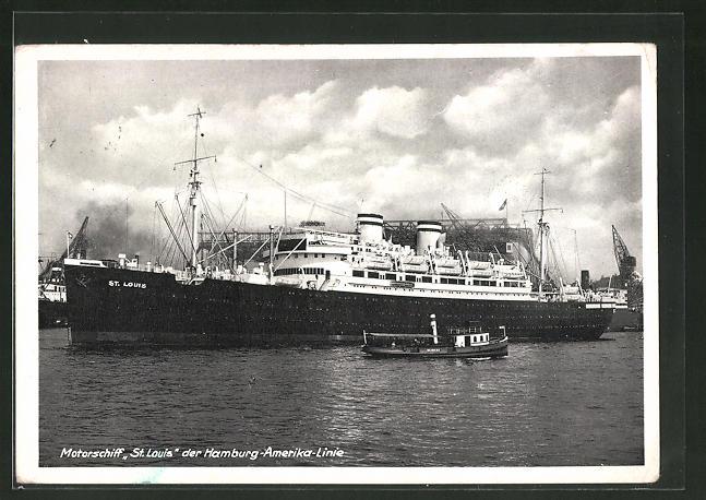 AK Hamburg-Amerika-Linie Passagierschiff St. Louis im Hafen