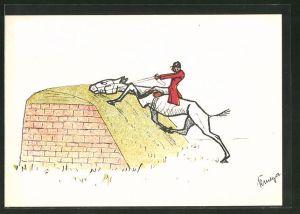 Künstler-AK Pferd klettert behäbig übers Hindernis, Pferdesport