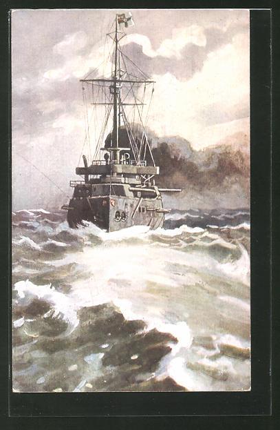 Künstler-AK Deutsches Linienschiff auf hoher See