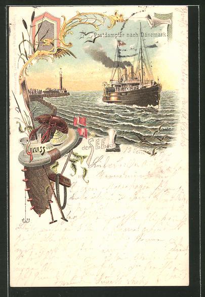 Lithographie Postdampfer nach Dänemark
