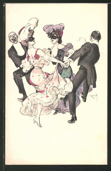 Künstler-AK Ferdinand von Reznicek: Simplicissimus Serie I. No. 6.: Maskenball mit Tanz