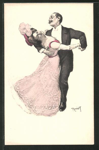 Künstler-AK Ferdinand von Reznicek: Simplicissimus Serie I. No. 1: Paar beim Tanz