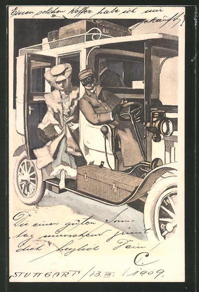 Künstler-AK Ferdinand von Reznicek: Simplicissimus Serie II. No. 11: Frau steigt aus dem Auto