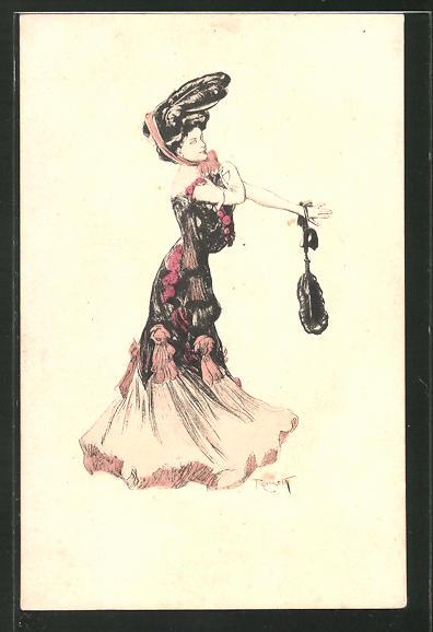Künstler-AK Ferdinand von Reznicek: Simplicissimus Serie I. No. 2: Dame im Kleid mit Hut und Handtasche