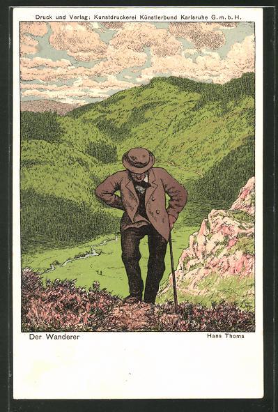 Künstler-AK Hans Thoma: Der Wanderer in den Bergen