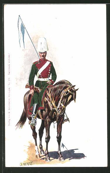Künstler-AK O. Merte: Kavallerist mit Fahne