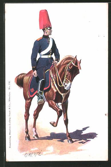 Künstler-AK O. Merte: Soldat mit Paradehelm zu Pferd