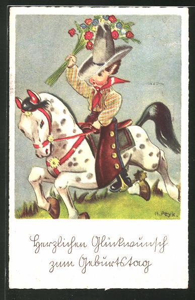 Künstler-AK Hilla Peyk: Cowboy mit Blumen auf dem Pferd