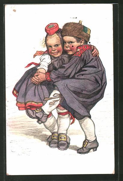 Künstler-AK Emil Beithan: Hessisches Kinderpaar beim Tanz