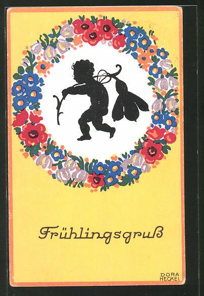 Künstler-AK Dora Heckel: Frühlingsgruss, Silhouette, Kind mit Blüte