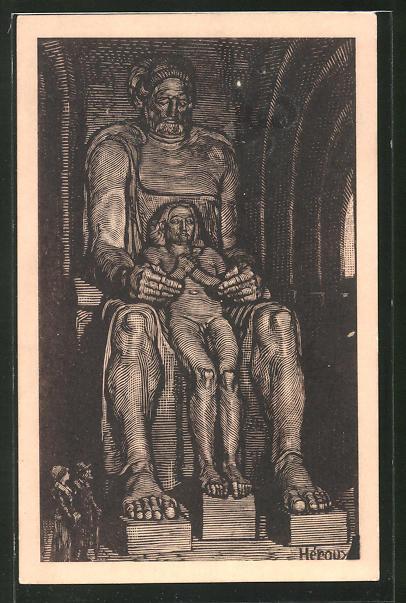 Künstler-AK Bruno Heroux: Leipzig, Völkerschlachtdenkmal, Die Glaubensstärke, Figur im Rumesmale