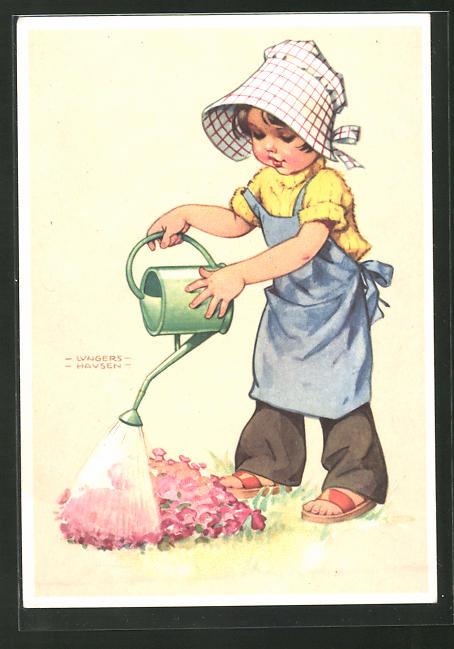 Künstler-AK Ilse Wende-Lungershausen: Mädchen giesst Blumen