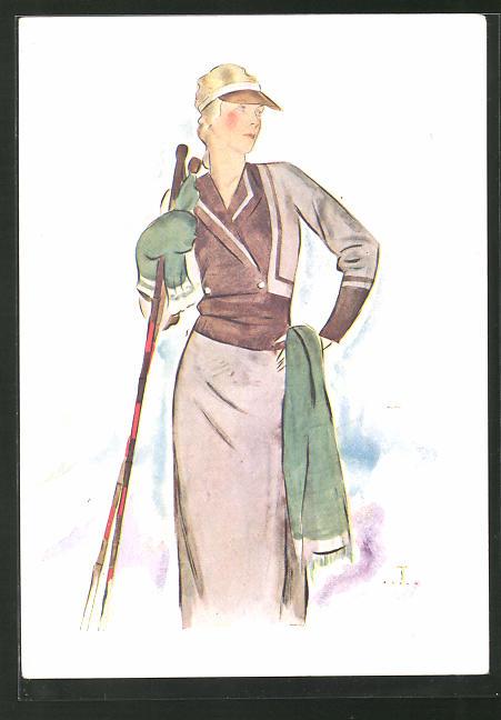 Künstler-AK elegante junge Frau mit Skistöcken