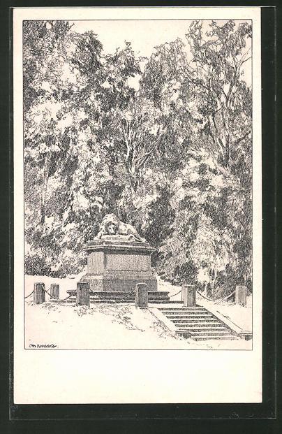Künstler-AK Otto Ubbelohde: Cassel, Denkmal in der Au