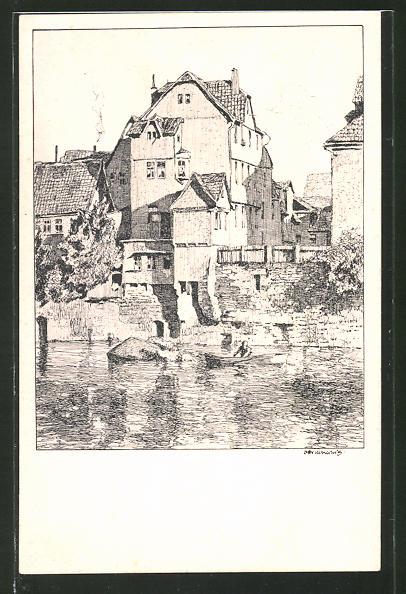 Künstler-AK Otto Ubbelohde: Cassel, Gebäude am Fuldaufer