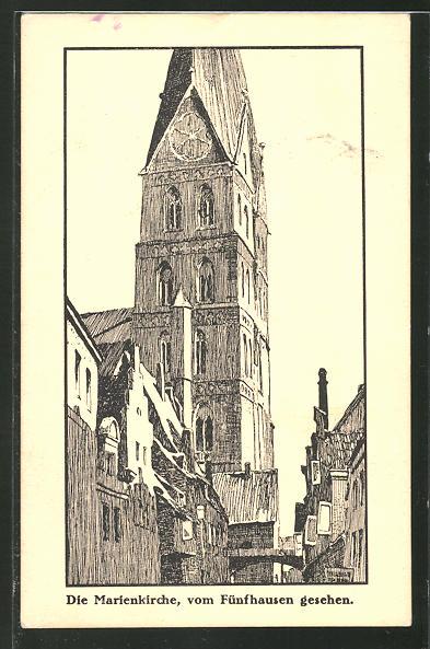 Künstler-AK Otto Ubbelohde: Lübeck, Marienkirche vom Fünfhausen gesehen