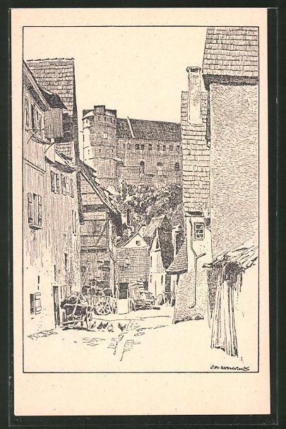 Künstler-AK Otto Ubbelohde: Tübingen, Schloss von der unteren Stadt