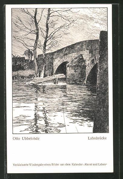 Künstler-AK Otto Ubbelohde: Blick auf eine Lahnbrücke