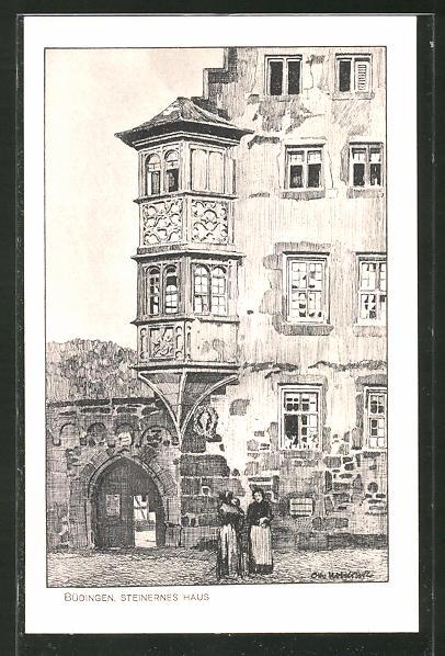 Künstler-AK Otto Ubbelohde: Büdingen, Steinernes Haus, Erker