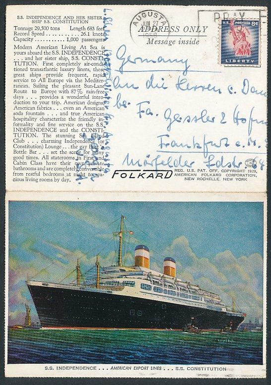 Klapp-AK Passagierschiff S.S. Independence, American Export Lines