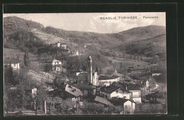 AK Reaglie Torinese, Panorama mit Blick zur Kirche