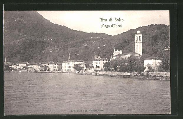 AK Riva di Solto, Lago d'Iseo, Totalansicht mit Blick zum Kirchturm