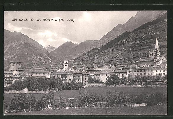 AK Bormio, Totalansicht mit Bergen im Hintergrund