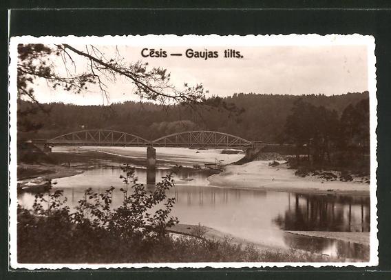AK Cesis, Gaujas tilts, Blick zur Brücke