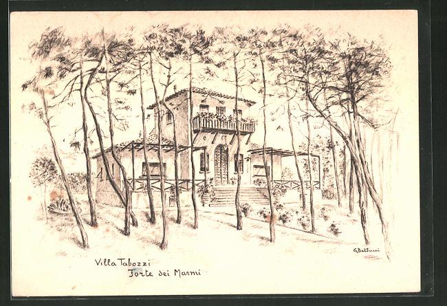 Künstler-AK Forte dei Marmi, Blick zur Villa Tabozzi