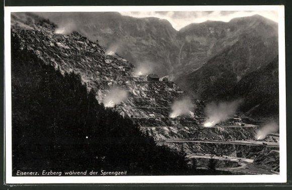 AK Eisenerz, Erzberg während der Sprengzeit