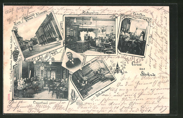 AK Sterkrade, Gasthaus zum grünen Klumpen, Restaurant, Cabüfken, Billardzimmer, Conzertsaal
