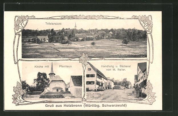 AK Holzbronn, Kirche mit Pfarrhaus, Handlung & Bäckerei von M. Roller, Totalansicht
