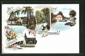 Lithographie Burg, Gasthof zum Spreewald, Kirche, Mutnitza b. Forsthaus Eiche, Mühle