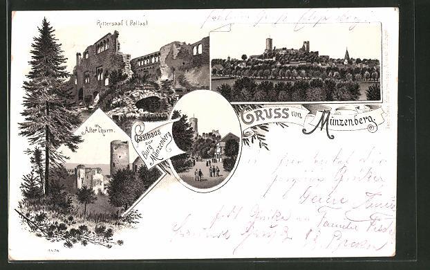 Lithographie Münzenberg, Rittersaal, Ortsansicht, Alter Thurm, Gasthaus zur Burg Münzenberg