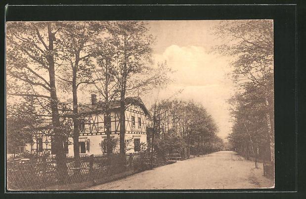 AK Gera, Blick zum Gasthaus Waldhaus, Inh. E. Oesterreich