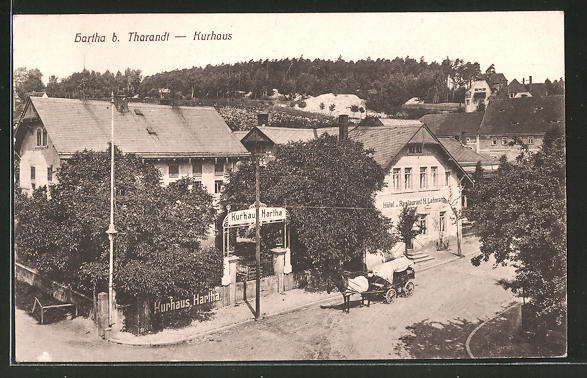 AK Hartha, Strassenpartie am Hotel-Restaurant Kurhaus