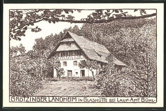 Künstler-AK Glashütte, Partie am Götzinger Landheim