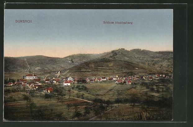 AK Durbach, Totalansicht mit Schloss Staufenberg