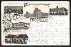 Lithographie Bad Polzin, Kurhaus, Bahnhof, Kaiserbad, Anlagenpartie