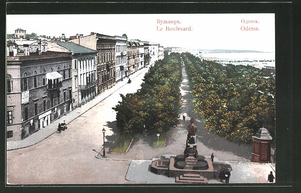 AK Odessa, le Boulevard, Strassenpartie am Hafen