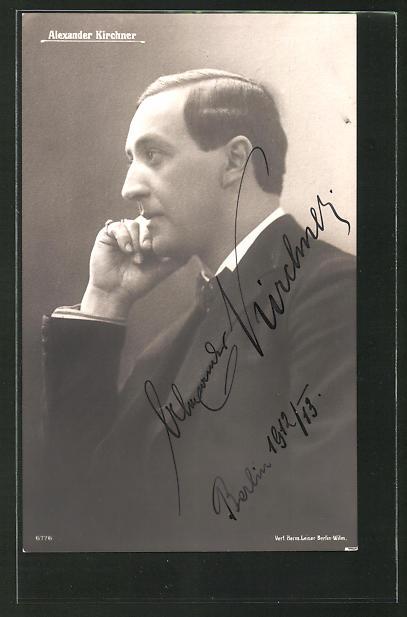 AK Opernsänger Alexander Kirchner in Denkerpose, mit Originalunterschrift