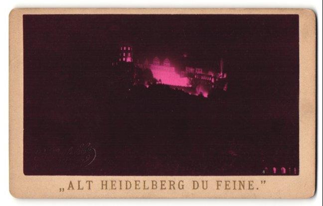 Fotografie G. Pauli & Co, Heidelberg, Ansicht Heidelberg, Schloss bei Nacht