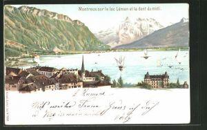 Lithographie Künzli Nr. 5019: Montreux sur le lac Léman et la dent du midi, Berg mit Gesicht / Berggesichter