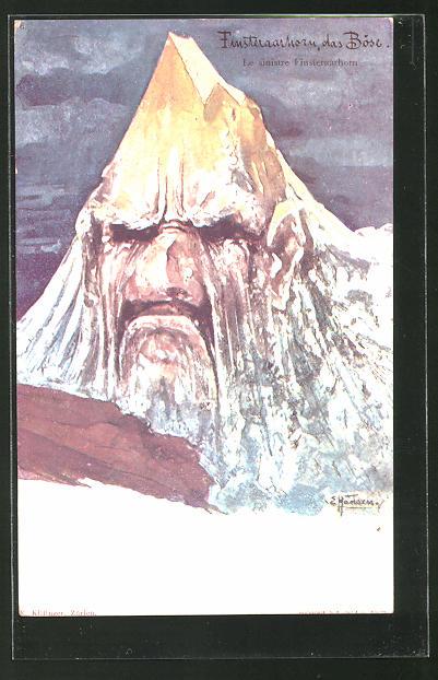 Künstler-AK Sign. E. Hansen / Emil Nolde, Killinger ohne Nr.: Finsteraarhorn, das Böse, Berg mit Gesicht / Berggesichter
