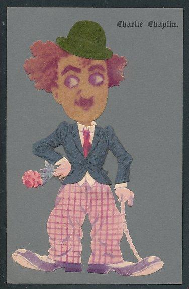 Filz-AK Schauspieler Charlie Chaplin als Tramp mit Jackett und Melone aus Filz
