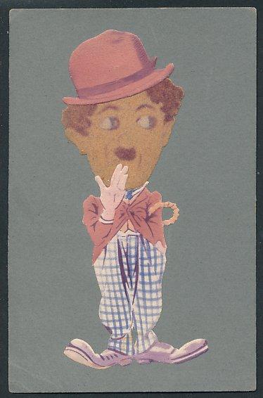 Filz-AK Schauspieler Charlie Chaplin als Tramp mit Gesicht aus Filz